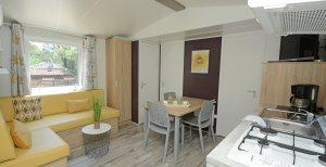 Coin salon et cuisine location mobil home luxe 3ch